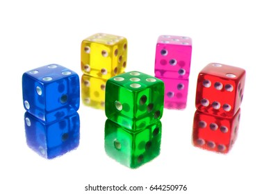 Colour Dice on White Background
