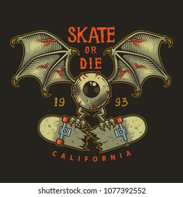 Colour emblem design with eye wings and cracked skate, illustration