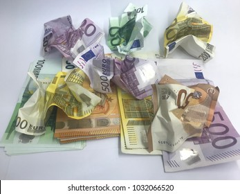 Colour full of Euro money,wrinkled Euro bank notes on the white background.