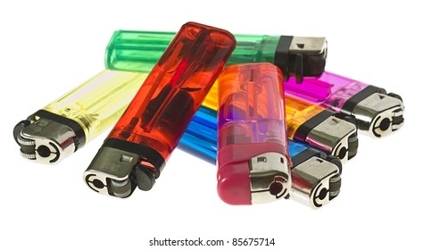 colour lighters isolated on a white background