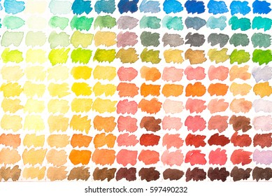 Colour palette with watercolours red, yellow, green blue, grey and orange