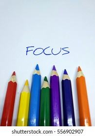 Colour pencil concept with message of focus.  Colourful and sharp edge pencil colour  brings the message of be focus and creative