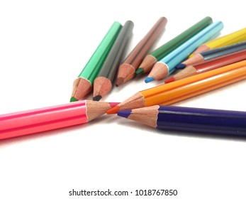 Colour pencil with isolated white background