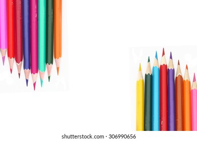 Colour pencils isolated on white background.