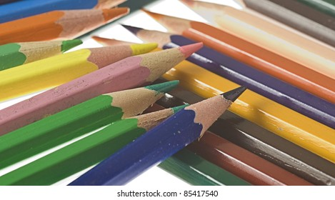colour pencils isolated on a white background