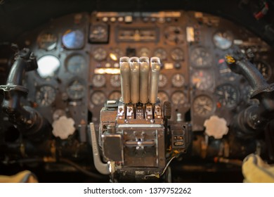 Colour photograph of the controls of the Avro Vulcan with selective focus on the throttles.