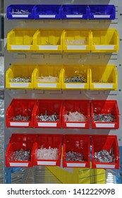 Colour Plastic Sorting Trays With Bolts and Nuts Parts