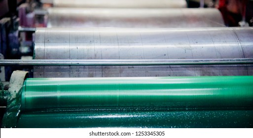 Colour rollers of a printing machine unique photo