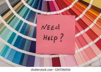 """Colour sampler with note """"Need help?"""" close up"""
