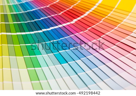 colour swatches book rainbow sample colors の写真素材 今すぐ編集