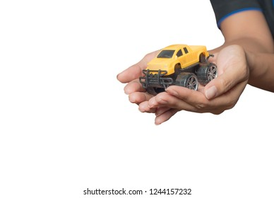 The colour yellow toy car ngonmue women to protect car insurance protection. The concept of waiver of car collisions with posture, prevention and protection of icon, car, concept, new truck
