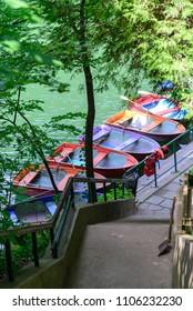 Coloured boats on Hamori Lake in Lillafured, Hungary
