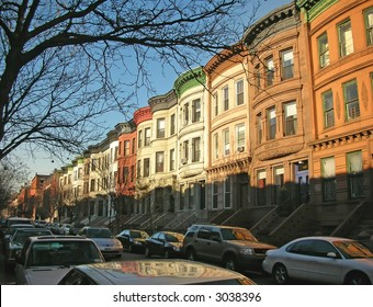 Coloured buildings of Harlem district - New York.