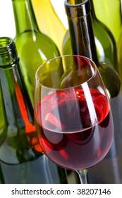 Coloured creative bottles.  Wine and bottles