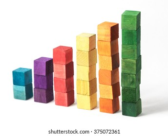 Coloured Cubes on White Background