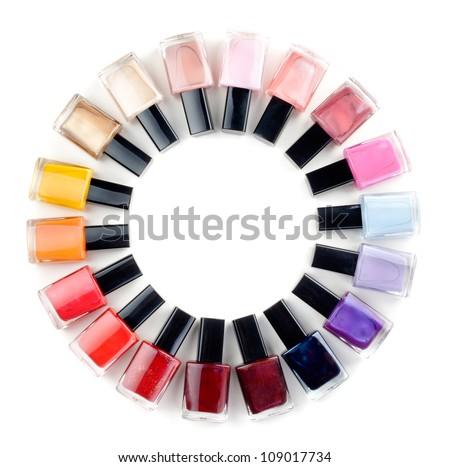Coloured nail polish bottles