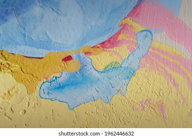 Coloured (pale blue, pink, yellow, orange) background abstract surface and texture. Thick congealed old emulsion paint on board or canvas. Swirls, ridges, cracks and pitted surface. Pastel colours
