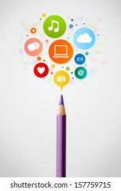 Coloured pencil close-up with social network icons