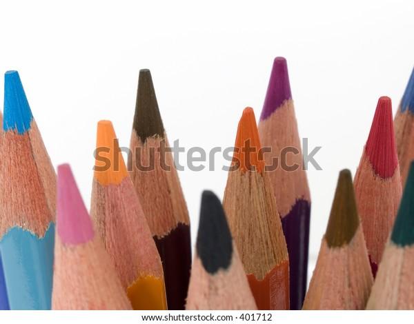 Coloured pencil crayons