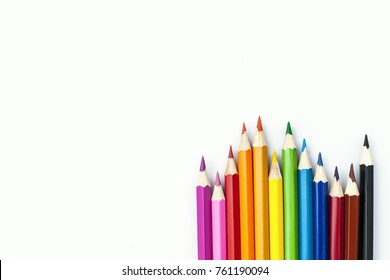 Coloured pencils isolated on the white background