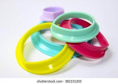 Coloured plastic rings