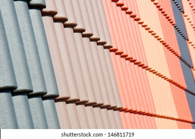 Coloured Roof Tiles on display