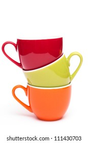 Coloured stacked coffee cups