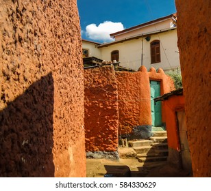 Coloured streets in the central Jugol, Harar, Ethiopia