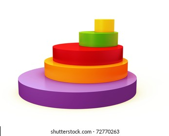colourful 3d pie chart isolated over white