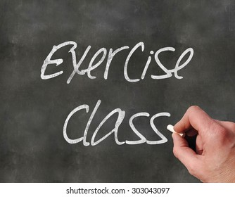 A Colourful 3d Rendered Concept Illustration showing a hand writting on a  blackboar, Exercise Class