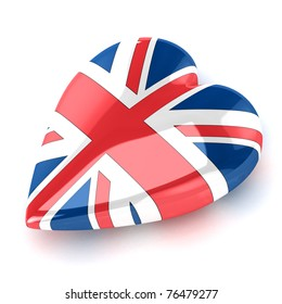 A Colourful 3d Rendered Union Jack Heart Illustration