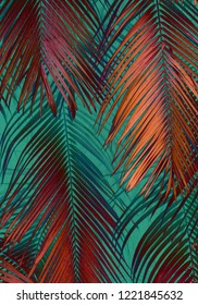 Colourful 80s/90s style tropical palm leaf texture background