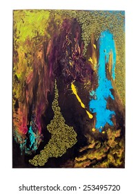 Colourful Abstract Painting with Beads and Stains