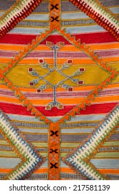 Colourful african moroccan style rug surface close up. Berber style from the Northern Morocco.