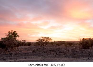 Colourful African Sunset in Desert-like Landscape