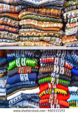 Colourful Alpaca Sweaters Cardigans Sale La Stock Photo Edit Now