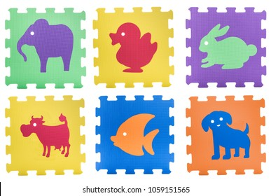 Colourful animal puzzles. Animal puzzle pieces isolated on white background. Animal learning block for children education.