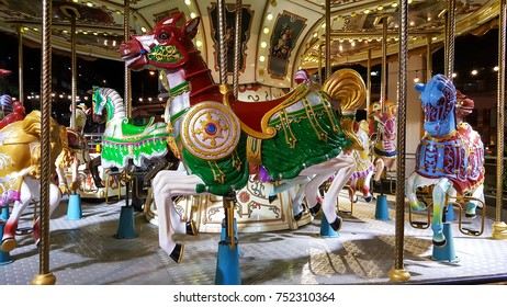 Colourful antique Carousel Horse  on carousel roundabout