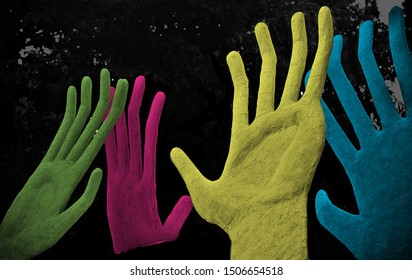 Colourful artificial hands with fingers unique photo