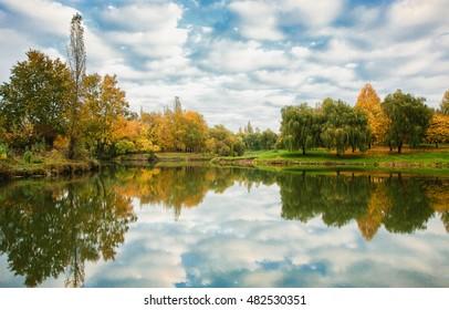 Colourful autumn landscape. Fresh colours