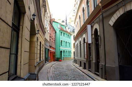 Colourful Backstreet in the Old Town - Riga, Latvia