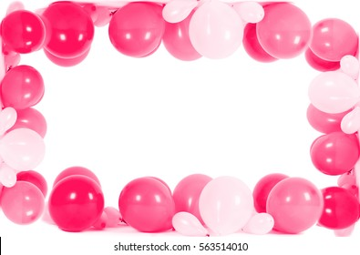 Colourful balloons in shape of frame isolated on white with copy space