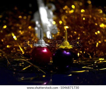 Colourful balls isolated object with golden background unique stock photo