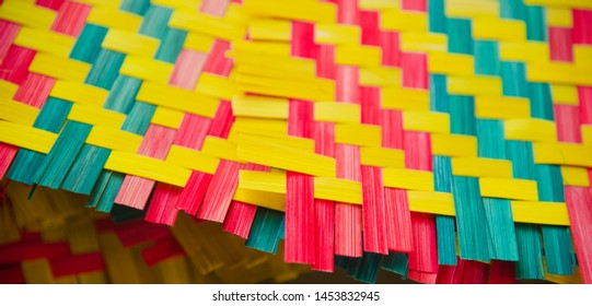 Colourful bamboo made object isolated unique photo