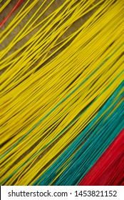 Colourful bamboo made thin sticks isolated unique photo