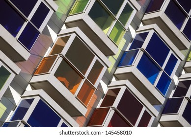 Colourful bay windows or balconies in Spain