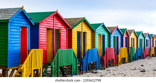 Colourful Beach Houses in Cape town, South Africa