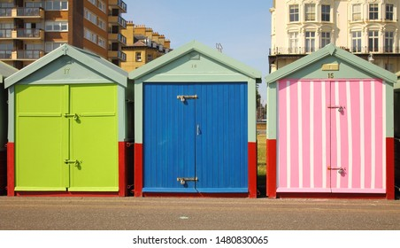 Colourful Beach Huts in Brighton and Hove, East Susses, UK - Shutterstock ID 1480830065