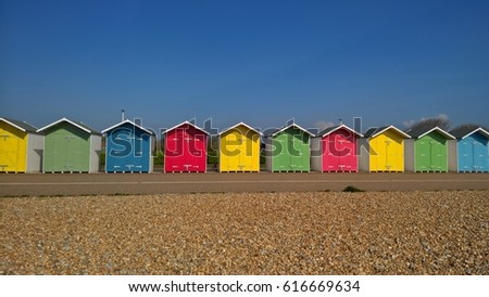 Colourful Beach Huts Eastbourne England Uk Stock Photo Edit Now