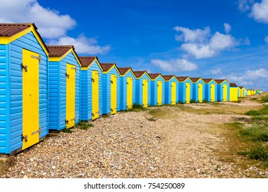 Colourful beach huts at Littlehampton West Sussex England UK Europe